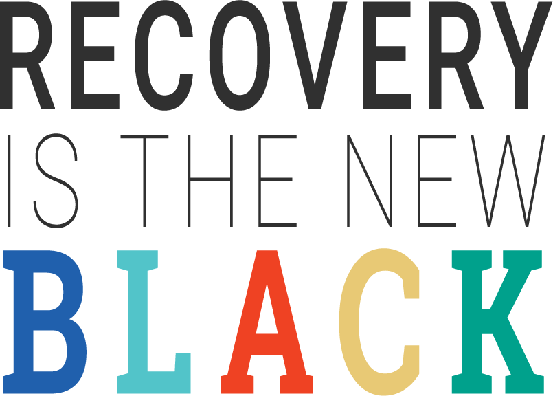 Recovery Is The New Black vertical logo - slab and sans serif fonts