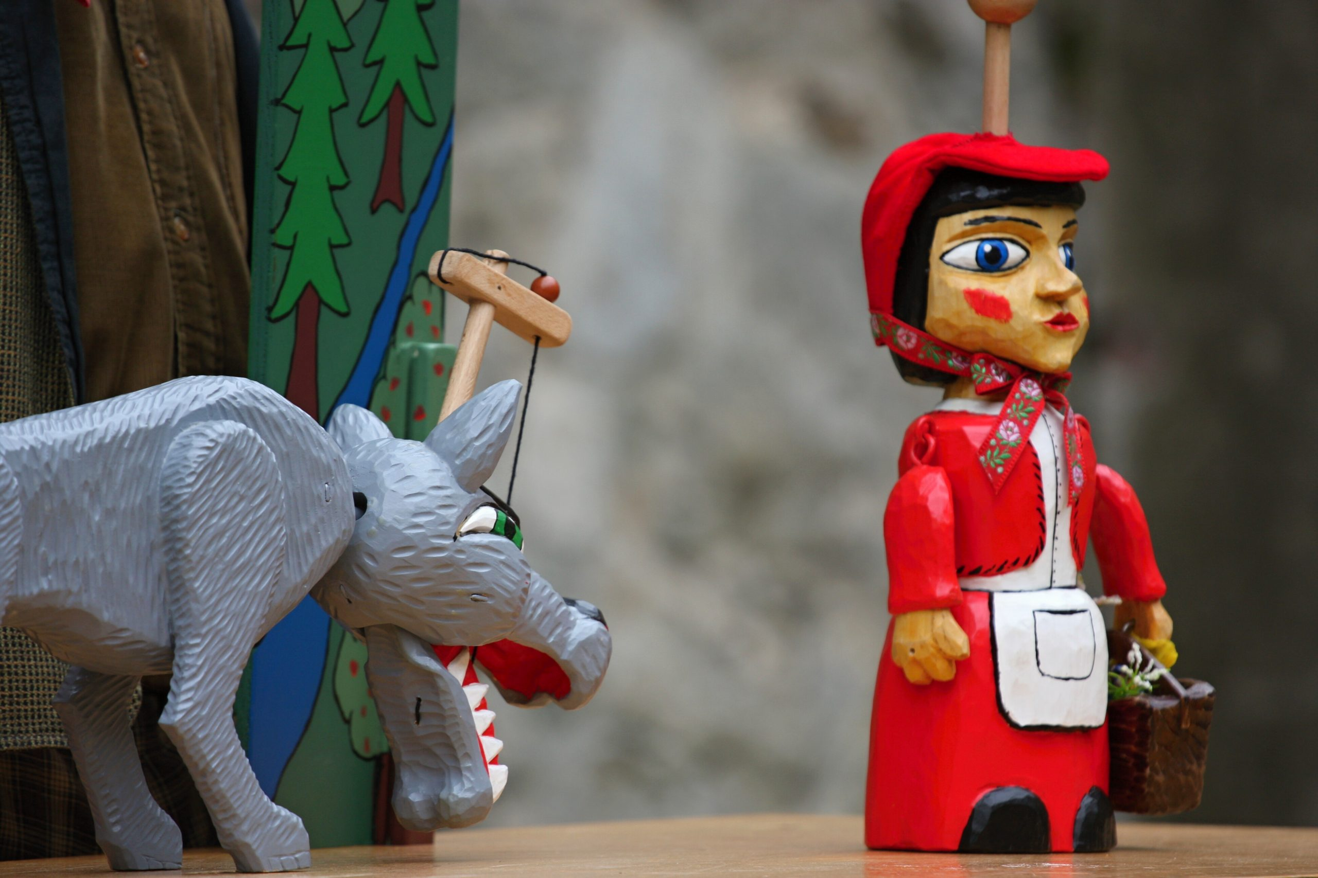 Little Red Riding Hood and the wolf puppets